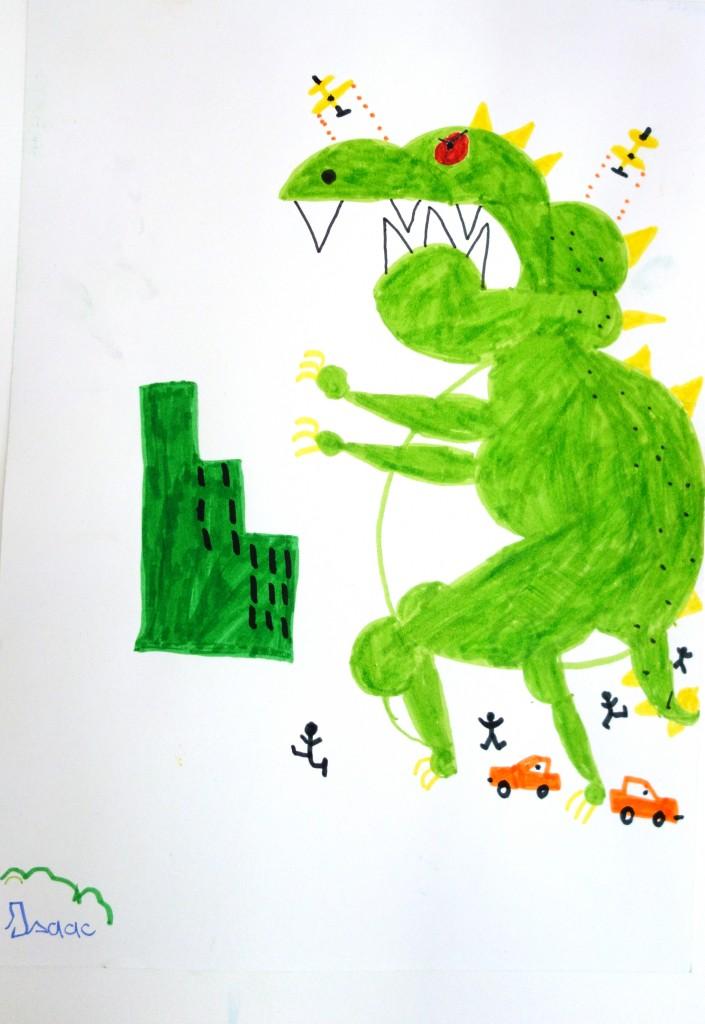 Godzilla_cours arts plastiques enfant_Isaac 7 ans