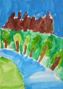 Paysage gouache_peinture enfant_Adam 7 ans