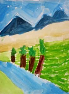 Paysage gouache_peinture enfant_Dean 5 ans