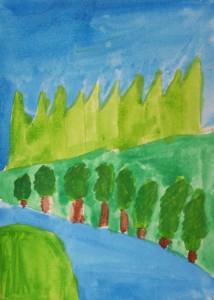 Paysage gouache_peinture enfant_Ethan 8 ans
