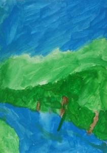 Paysage gouache_peinture enfant_Marina 5 ans
