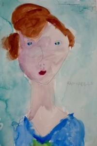 cours de dessin enfants-75011-portrait aquarelle Raphaelle 5 ans