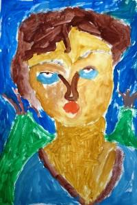 cours de dessin enfants-75011-portrait gouache come 5 ans