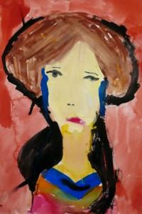 cours de dessin enfants-75011-portrait peinture brune 6 ans