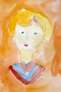 cours de dessin enfants-paris11-portrait peinture Adah 6 ans
