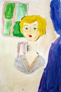cours de dessin enfants-paris11-portrait peinture Esther 7 ans