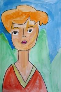 cours peinture enfants-paris11-portrait elsa 7 ans